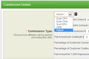 Setting specific commissions within the Offers admin